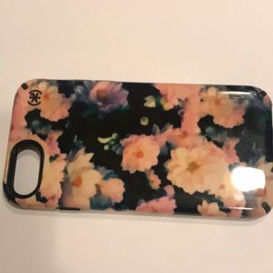 iPhone 7 black and pink floral case
